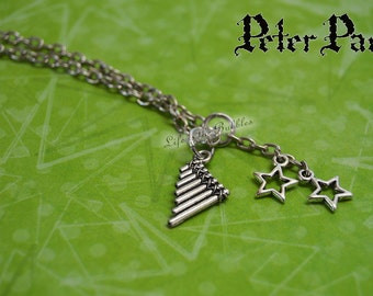 Peter Pan,Necklace Neverland Necklace with a Pan Flute and 2 Star Charms,  Disney Inspired, Once Upon a Time, Peter Pan Bound, Disney Bound