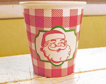Vintage Santa Red Buffalo Check Christmas Hot/Cold Paper Party Cups - Set of 12