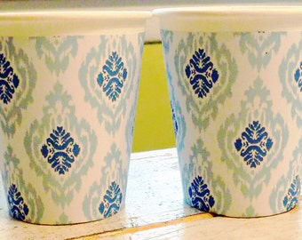 Blue Ikat Hot/Cold Paper Party Cups - Set of 12