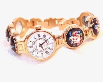Vintage Chaika Yanka Enamel Porcelain Ladies Watch, 17 Jewel, Manual Wind, Russian Watch