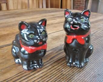 Black Cat Sugar & Creamer Shafford RD 951 Ceramic Redware 1950s Japan