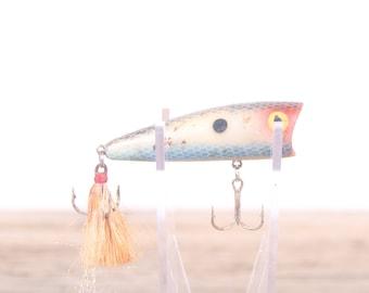 Vintage Rattler Fishing Lure / Blue White Fishing lure / Old Fishing Lure / Fishing Decor / Antique Fishing Lure / Unique Lure