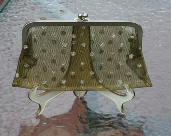 Vintage Purse Clutch Clear Glitter