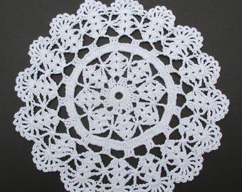 Crocheted Doily - White - 7.5 Inch Diameter