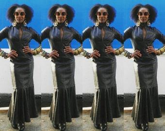 Vintage Black Leather Detachable Mini Maxi Dress 1980s Mermaid Style