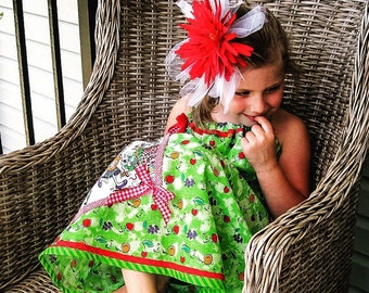seersucker Sundress for girls, green dress