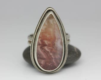 Pink Agate Ring, Agate & Sterling, Unique Gemstone, Pink, Peach, White, Unisex Statement Ring, Size 8.75