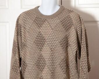 Vintage 90s Men's Sweater - JANTZEN CLASSICS - diamond pattern - XL