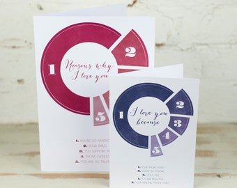 Personalised Reasons Why I Love You Pie Chart Card