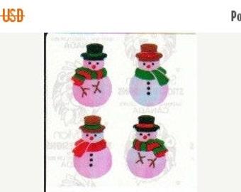 ON SALE Vintage Sandylion Pearl Finish Snowmen Sticker Mod - 80's Opal Holiday Scrapbook