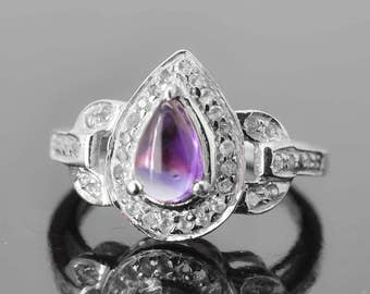 Amethyst Ring, 0.85 ct, Purple, Teardrop Cut, Birthstone Ring, February, Gemstone Ring, Sterling Silver Ring, Solitaire Ring, Statement Ring