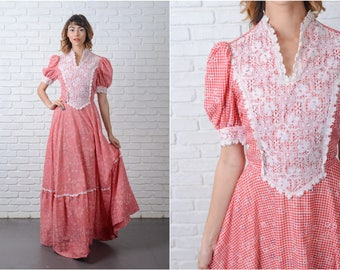 Vintage 70s Red Maxi Dress Gingham Plaid Puff Sleeve Polka Dot Boho Small 9103