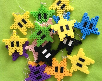Nintendo Star Power-Up Perler Bead Sprite Earrings