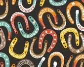 Lucky Charm Horseshoes on Black from Blend Fabric's Luckie Collection by Maude Asbury