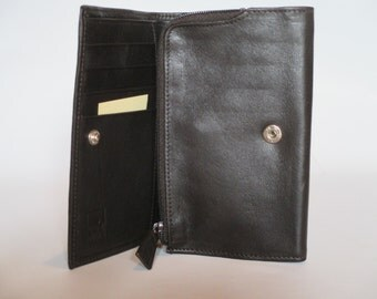 Leather Trifold Wallet, Dark Brown, Vintage, with Zipper Compartment and Snap Closing, Secure Pocket Purse Backpack