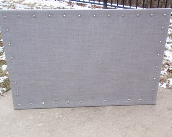 "Grey / Gray Linen Fabric Custom Bulletin Board Corkboard Message Pin Cork Dream Escort Card Jewelry Organizer 23"" x 35"" Choice of Nail Heads"