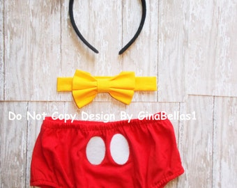 Mickey Mouse Birthday cake smash outfit baby boy clubhouse First 1st I am one diaper cover bow tie Free Ears 6 9 12 18 24 toddler Ready Ship