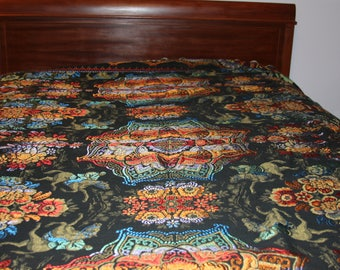 Tapestry Bedspread / bedding / topper in Bold Colors on Black - Asian Motif - Scallopped Edges