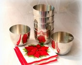 72 Hour SALE 50s JEFFERSON CUPS by Stieff - Set of 6 Gleaming Pewter Cups - Historical and Handsome