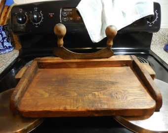 Antique Primitive French Cutting Chopping Board with Mezzaluna Hachoir Rocker Knife