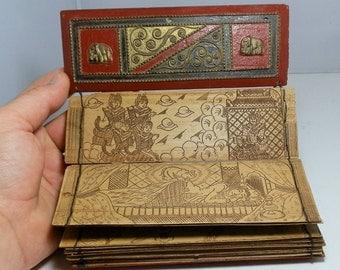 RESERVED... Illustrated Buddhist Sanskrit Hand Written Antique Sutra Prayer Manuscript Book Art Palm Leaf Handwritten Rare and Collectible