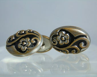 Vintage Jewelry Cufflinks Repousse Cuff links Silver Plated Brass Men's or Women's Suit Accessory DanPickedMinerals