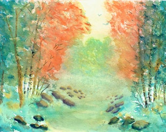 Watercolor Print, Walking through the Woods, Wall Decor
