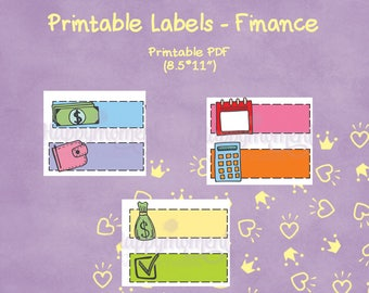 Bullet Journal PRINTABLE Finance stickers | Budget and money doodle icons on empty labels in many colors | Planner stickers, BuJo stickers