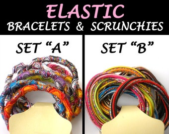 8 Hair Elastic Bracelet Elastic - DeSTASH SALE Scrunchie Ponytail Elastics - Metallic Rainbow Hair Scrunchies & Jewelry Supply, Party Favors