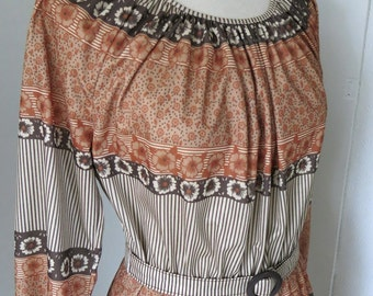 Brown patterned vintage dress