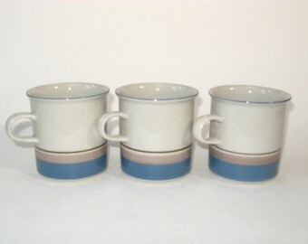 Set 3 Arabia Finland UHTUA Mugs Small Handle Cups Design Inkeri Leivo - Mint