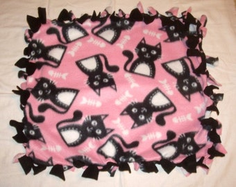 SALE Fleece Tie Pet Blanket for Cats or Small Dogs - Pink with Black Cats