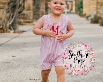 Boy's Custom Monogram Jon Jon - Red & White - Summer outfit - Monogrammed Romper / Jon Jon- Shower gift - Summer Bubble