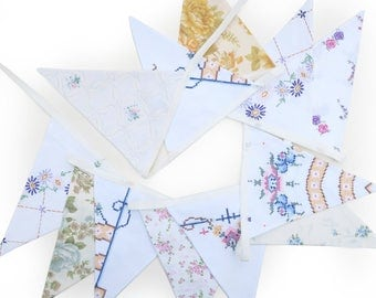 Vintage Bunting Embroidery / Cross Stitch & Floral Fabric - High Tea Garden Party Flags.  Birthday Parties , Weddings , Kitchen Tea .