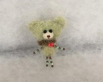 Bear brooch  Mohair bear brooch  Bear brooch with beads Hand made brooch Green bear brooch