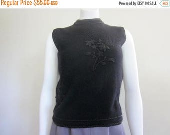 Beaded Sweater / 1960s / Mad Men / Evening Tops / Black / Astronaut Wives Club / Wool Top / Old Hollywood