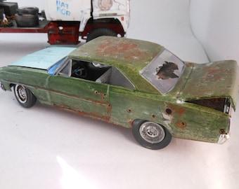 Scale Model Car,Rusted Wreck,Chevy Nova,Green,Classicwrecks