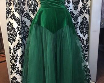 Stunning 1950's Green Velvet and Tulle Prom Dress
