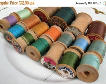 HOLIDAY SALE 20% Off Collection of 18 Vintage or Antique Wooden Thread Spools