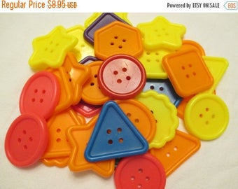 Spring SALE 20% OFF 30 Large Colorful Craft Shaped Buttons....Shapes for School, Bingo, scrapbooking...New Supply LAST Set