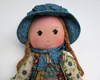 Vintage Holly Hobbie Rag Doll, The Original Cloth Doll 1970s by Knickerbocker Toy Co.