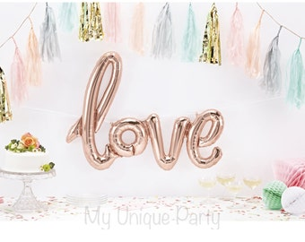 """LOVE Balloon """"LOVE"""" Script Balloon Large 40"""" Rose Gold Air Fill only Cursive Balloon String included / Engagement / Wedding / Anniversary"""
