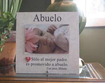 Abuelo Frame, Abuelo Picture Frame, Abuelo Photo Frame, Spanish Saying,4 x 6 Photo, red ceramic heart with crystal