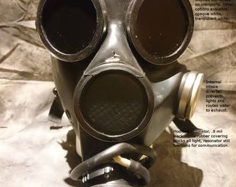 Superior sensory deprivation gas mask; Small, Medium, Large. Extra-Small available in different mask type, see other listings at my shop