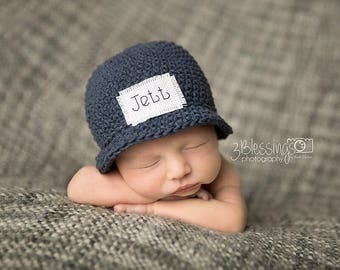 Children's Monogrammed Hat, Baby boy hat, Baby Announcement, Preemie, Newborn, Baby Girl, Baby Boy, Cotton hat, Personalized, baby shower