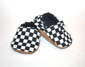 racing baby shoes nascar black and white shoes checkered shoes black and white moccs indoor shoes non slip shoes baby booties flag shoes