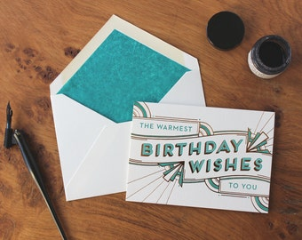 Deco Birthday Wishes Letterpress and Foil Greetings Card