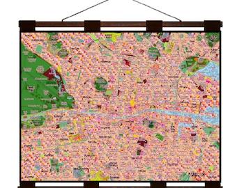 DUBLIN Map 7E- Handmade Leather Wall Hanging - Travel Art