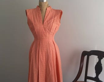 Vintage 1950s Handmade Peach Day or Garden Party Dress S/2