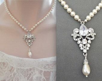Swarovski Pearl necklace, Brides necklace, Vintage style, Pearl necklace, Royals, Fleur de lis, Exquisite, Wedding necklace, Brides Jewelry